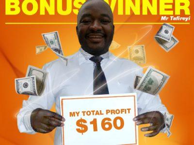 March Campaign 1st Bonus Winner: Mr. Linos Judah Tafireyi