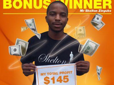 February Campaign 3rd Bonus Winner: Mr. Shelton Zinyuke