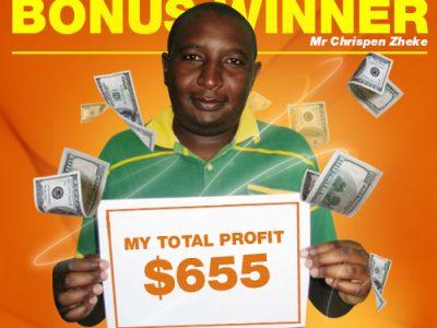 December & January Campaign 2nd Bonus Winner: Mr. Chrispen zheke