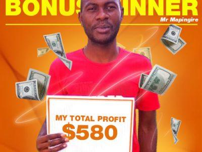 November Campaign 2nd Bonus Winner: Mr. Tapiwa Mapingire