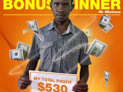November Campaign 3rd Bonus Winner: Mr. Kondwani Mbuluma
