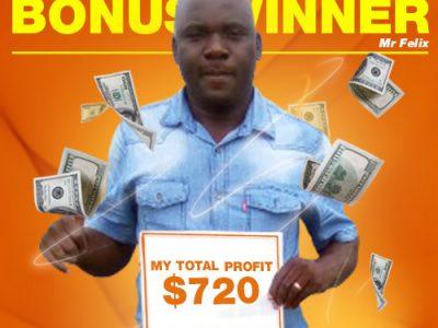 December Campaign 1st Bonus Winner: Mr. Felix Kutoha