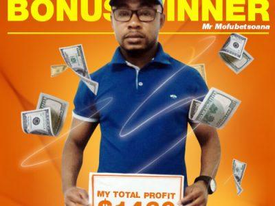 October Campaign 1st Bonus Winner: Mr. PHOKA MOFUBETSOANA