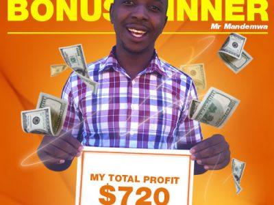 December Campaign 4th Bonus Winner: Mr. Tapiwa T Mandemwa.