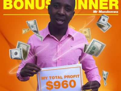 January Campaign 4th Bonus Winner: Mr. Tapiwa T Mandemwa.