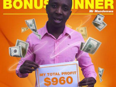 January Campaign 4th Bonus Winner: Mr. Tapiwa T Mandemwa.